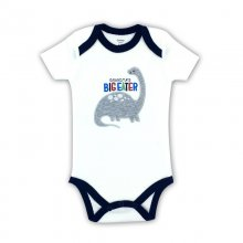 Baby Boy Print Grey Dinosaur Short Sleeve Cotton Bodysuit