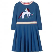 Toddler Girl Print Blue Horse Sequin Long Sleeves Casual A-line Dresses