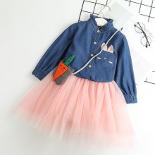 Toddler Girl 2 Pieces Blue Denim Long Sleeves Shirt and Tutu Skirt Set Outfit