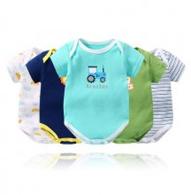 Baby Boy Print Stripes 5 Packs Short Sleeve Cotton Bodysuit