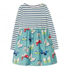 Toddler Girl Print Butterfly Stripes Long Sleeves Casual A-line Dresses
