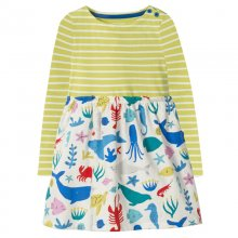 Toddler Girl Print Sea Animals Stripes Long Sleeves Casual A-line Dresses