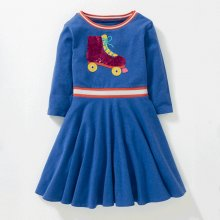 Toddler Girl Sequin Roller Shoes Long Sleeves Casual A-line Dresses