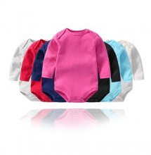 Baby Boy Pure Color Long Sleeve Cotton Bodysuit