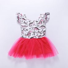 Toddler Girls Print Cartoon Dinosaurs Tutu Dress
