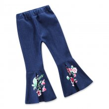 Girls Prints Flowers Flared Denim Jeans