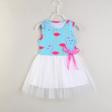 Girls Print Flamingos Sleeveless Casual Tutu Dress