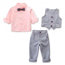 Boys 4-Piece Outfits Pink Long Sleeves Shirt Match Vest and Stripes Pant Dressy Up Clothes