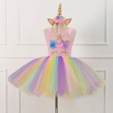 Girl Crocheted Print Flowers Crown Tutu Dress With Unicorn Hair-band