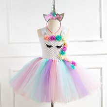 Girl White Crocheted Tutu Dress With Unicorn Hair-band