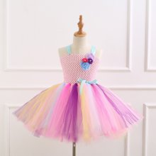 Girl Pink Crocheted Flowers Tutu Dress