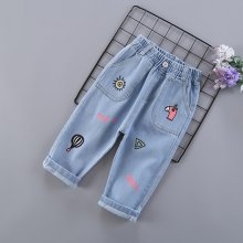 Toddler Girl Elastic Washed Denim Print Jeans Pants