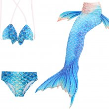 3PCS Kid Girls Omber Blue Gold Dots Mermaid Tail Bikini Swimsuit
