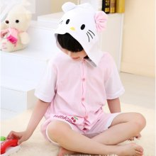 Kids Pink Cat Summer Short Onesie Kigurumi Pajamas for Unisex Children