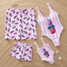 Family Matching Swimwear Pink Stripes Pineapple Swimsuit and Truck Shorts