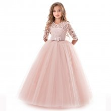 Kid Girl Lace Flowers Embroidered Hollow Bow Gown Dress With Medium Long Sleeves