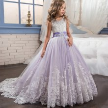 Kid Girl Embroidered Flowers Sequins Jewelry Sleeveless Wedding Party Dresses