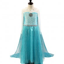 Kid Girl Sequins Flower Gem Maxi Princess Dresse With Long Mesh Sleeves