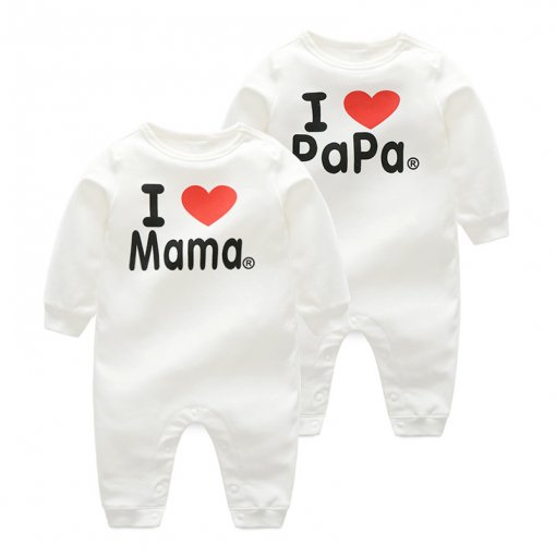 Baby Girl White Slogan Heart Cotton Long Sleeve One piece
