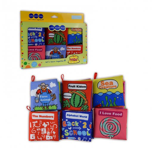 Baby's First Touch and Feel Soft Learn Cloth Book Set 6 Packs