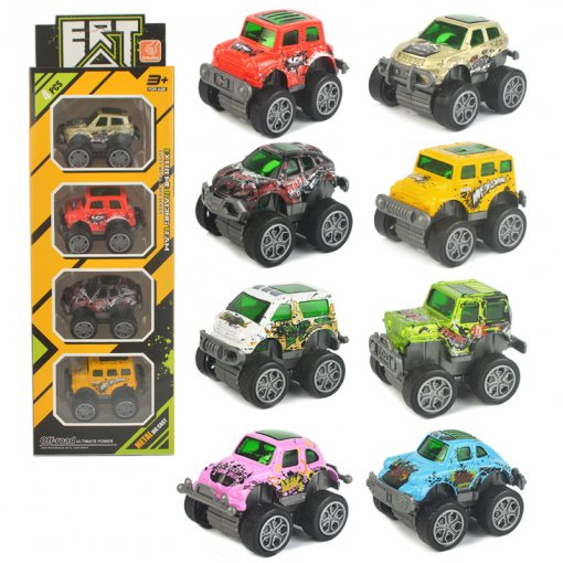 4 PCS Alloy Off-road Vehicles Toy Cars Model 1/64 Scale For 3Y+ Kids