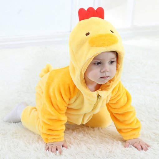 Baby Yellow Chick Onesie Kigurumi Pajamas Kids Animal Costumes for Unisex Baby