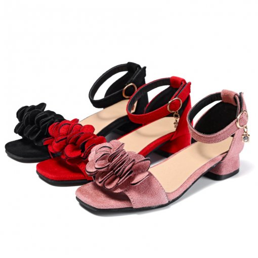 Kid Girl Suede 3D Flower Velcro Heels Pump Sandals