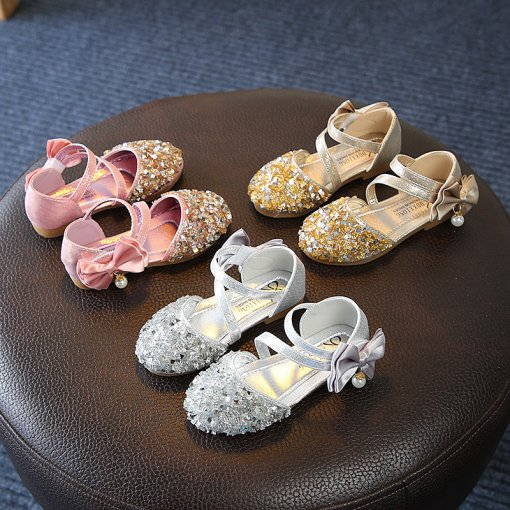 Kid Girl Bling Bright Diamond With Pearl Bowknot Closed-toed Sandals