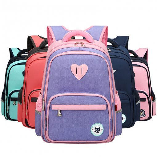 Primary School Backpack Bag Matching Color Heart Lightweight Waterproof Bookbag