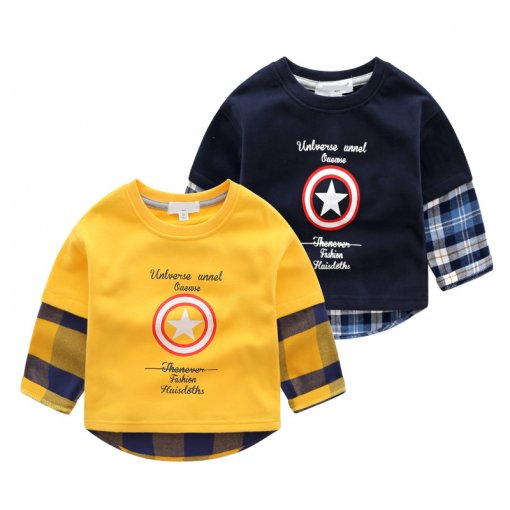 Toddler Boy Print Captain America Slogan Letters Plaid Sweatshirts
