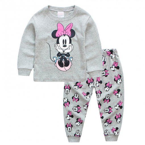 Kids Minnie Mouse Pajamas Sleepwear Set Long-sleeve Cotton Pjs