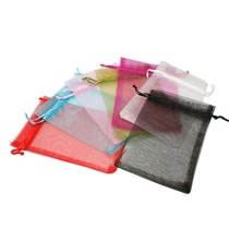 Organza Gift Bags, with Drawstring, High Dense, Rectangle, Mixed Color, 15x10cm