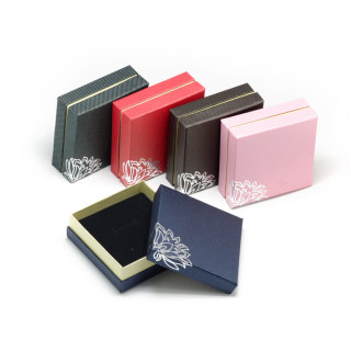Silver Tone Flower Cardboard Jewelry Boxes, for Necklace and Rings, Mixed Color, 9x9x3.5cm