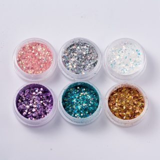 Glitter Sequins for resin, Manicure Decorations, Hexagon, AB Color, Mixed Color, 28x14mm; 6boxes/set