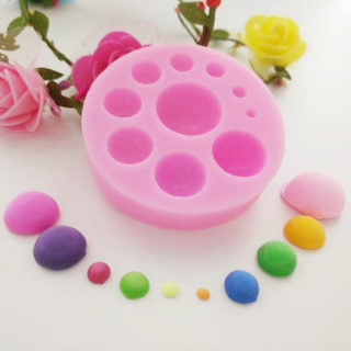 Half Round Shape DIY Silicone Molds, Random Single Color or Random Mixed Color, 67x14mm
