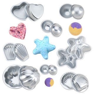8 Sets 16pcs Mixed Shape Aluminum Alloy Bath Bomb Molds Sets, Ball & Starfish & Scallop & Shell & Heart & Flower, Cake Pan Molds