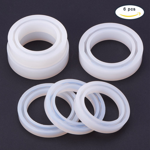 6 Pcs Silicone Mold  Round Resin Curve Bangle Bracelet Mold Diameter 56-62mm for DIY Jewelry Making