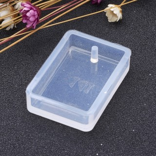 10pcs Clear Rectangle Shape DIY Silicone Molds with Hole for Resin Jewelry Making for Making Pendant 33.5x23x7.5mm