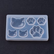 5pcs Clear DIY Silicone Molds  Cat & Bear Paw Resin Casting Molds for Resin Jewelry Making  77x47x8mm