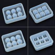 4 Pieces Round Square Silicone Bead Molds with Holes Resin Jewelry Making DIY Craft Tools
