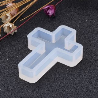 10pcs Clear Cross Shape DIY Silicone Molds Decorating Pendant for Resin Jewelry Making 39x28x7mm