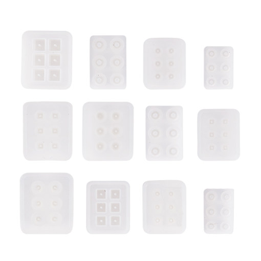 12 Pack Silicone Resin Molds with Hole for Resin, Clay, Gemstone Cabochon Beads Pendant Charms Jewelry Casting(Cube, Round, Square, Abacus, Oval, Rhombus)