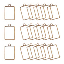 45pcs 33.5x21mm Antique Bronze Rectangle Alloy Framework Open Back Bezel Charms Pendant Blanks for UV Resin Crafts Jewelry Making