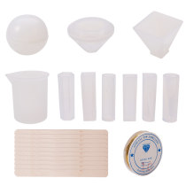 9pcs 9 Styles Resin Casting Molds Large Resin Silicone Molds with 1pcs 100ml Measuring Cup 2.5m Copper Jewelry Wire 10pcs Wooden Sticks for Resin Epoxy Jewelry Making