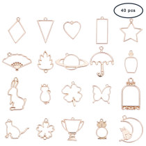 40 Pcs Alloy Open Back Bezel Pendant Pressed Flower Frame Jewelry Charms with Loop 20 Styles for Resin Polymer Golden