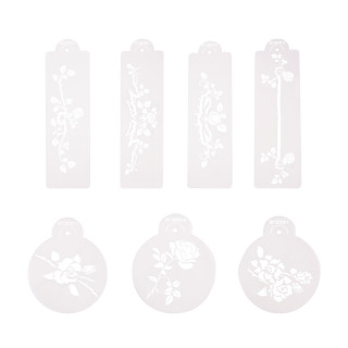 7pcs Plastic Flower Drawing Painting Stencil Hollow Hand Accounts Ruler Template for DIY Scrapbooking, Planner, Bullet Journals, Card Making