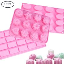 3 Set Flower Oval Rectangle Shape Silicone Molds DIY Handmade Tools for Jelly Sugar Candy Chocolate Fondant Cake Decoration - Pink