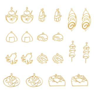 20pcs Food Theme Open Bezel Charms 10-Style Alloy Frame Pendants Color-Lasting Hollow Resin Frames with Loop for Resin Jewelry Making - Gold