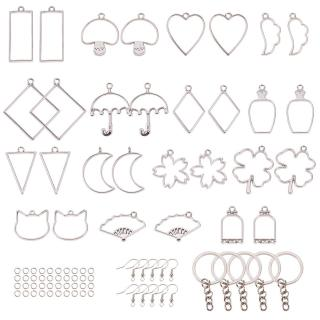 30PCS Open Bezel Charm Pendants Pressed Geometric Flower Mixed Blank Frame Hollow Mould 15 Styles & Iron Key Chain Ring & Earring Hooks for UV Resin Earrings Keyring Jewelry Making Platinum
