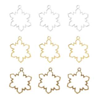 30pcs Color-Lasting Snowflake Open Bezel Charms Alloy Frame Pendants Hollow Resin Frames with Loop for Resin Jewelry Making - Golden & Platinum & Antique Bronze